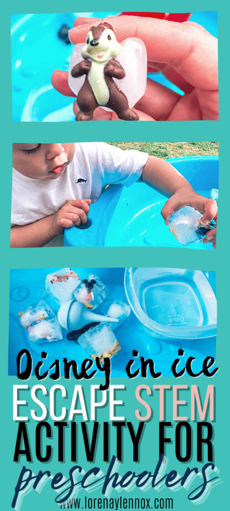 In this post you can find a fun, outdoor, STEM Disney In Ice Escape water table activity for toddlers, preschoolers and kindergarteners.