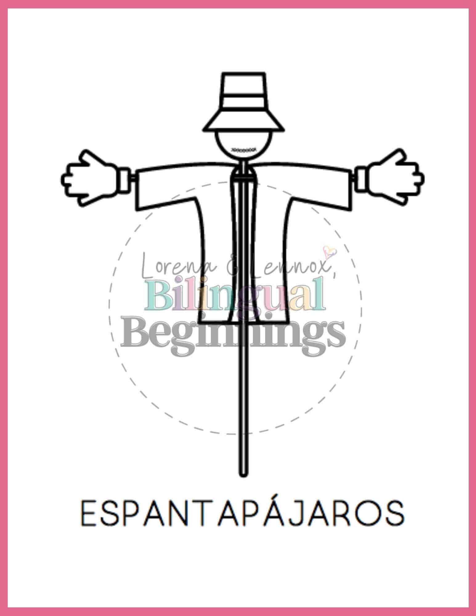 Fall printables in Spanish- coloring pages- Espantapájaros