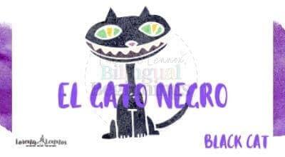 Halloween Printables in Spanish- Halloween Vocabulary Flashcards- El murciélago-El gato negro