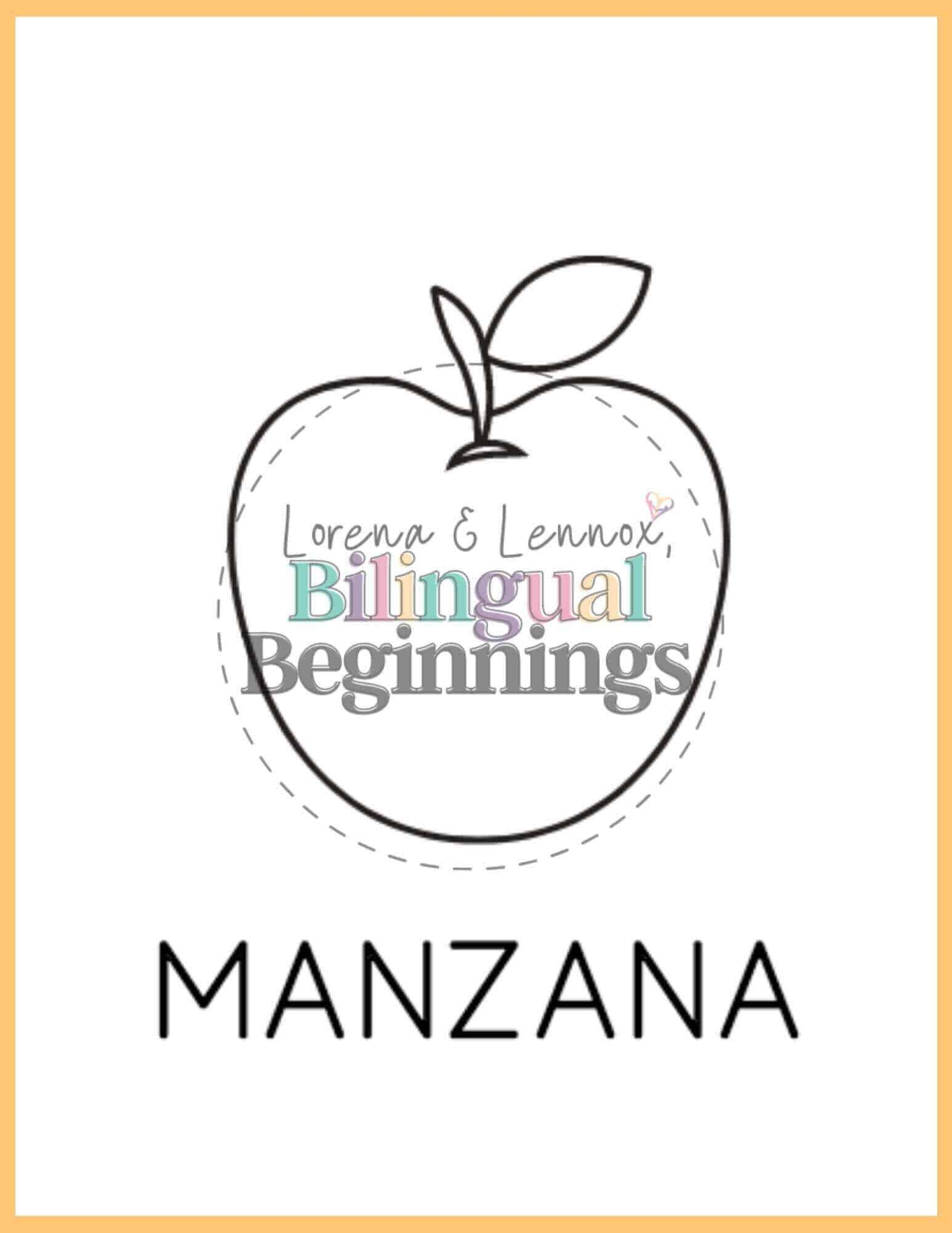 Fall printables in Spanish- coloring pages- Manzana