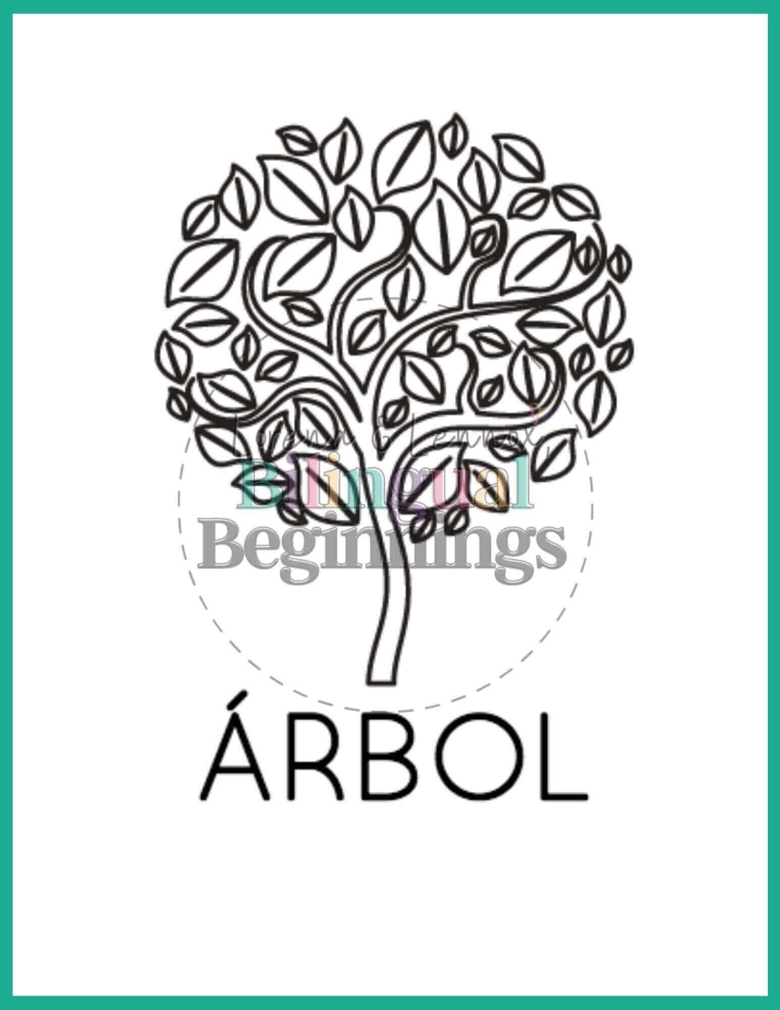 Fall printables in Spanish- coloring pages- árbol