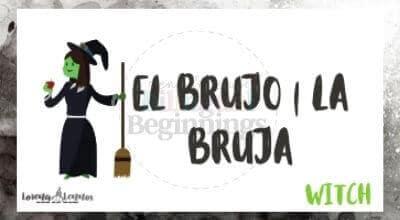 Halloween Printables in Spanish- Halloween Vocabulary Flashcards- El brujo, la bruja