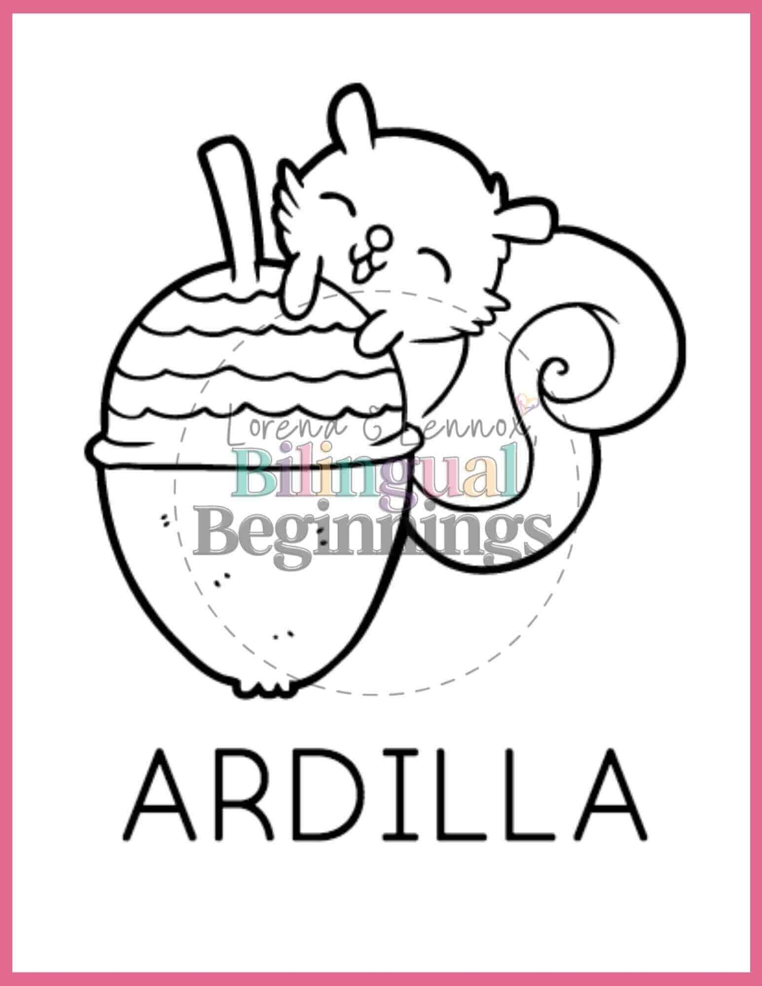 Fall printables in Spanish- coloring pages- ardilla