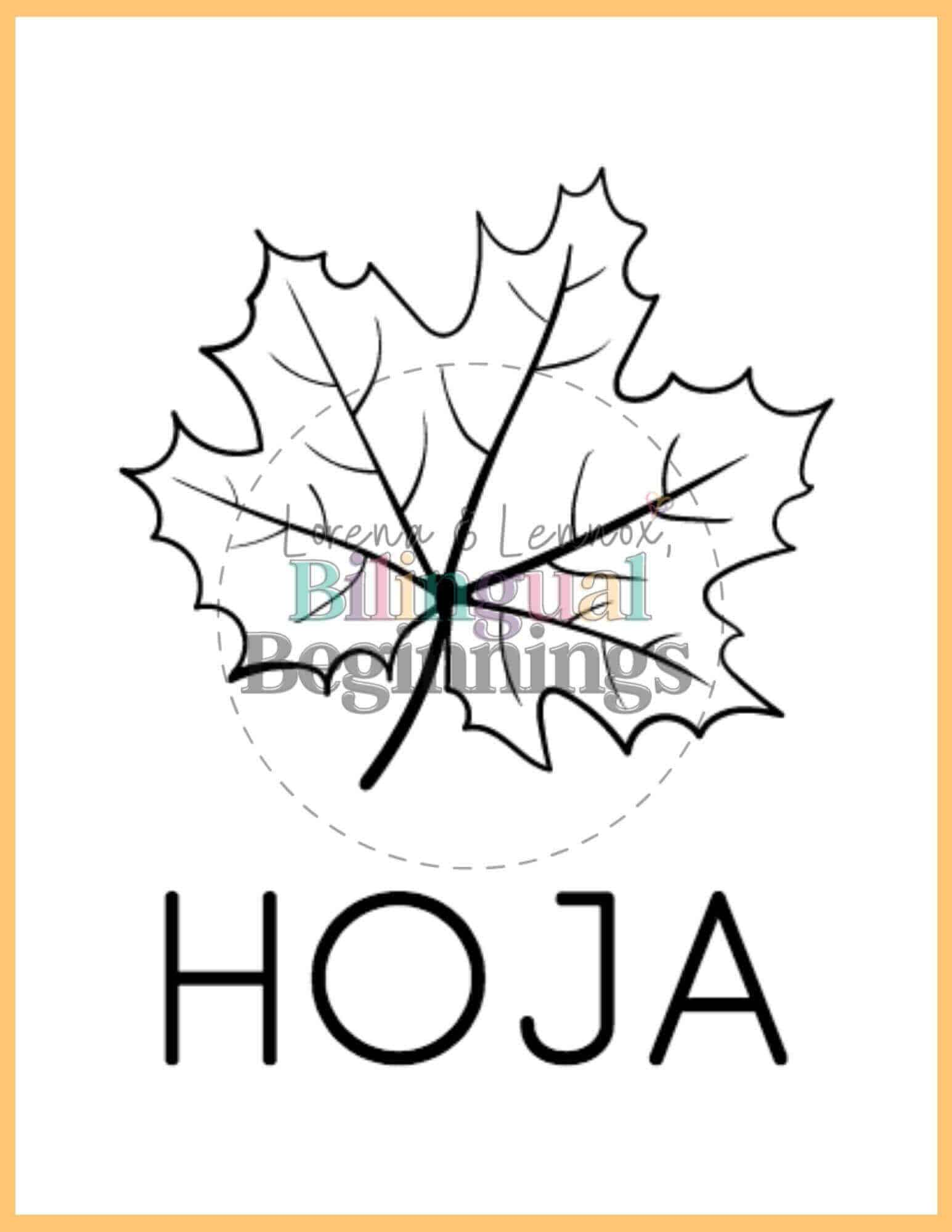 Fall printables in Spanish- coloring pages- hoja