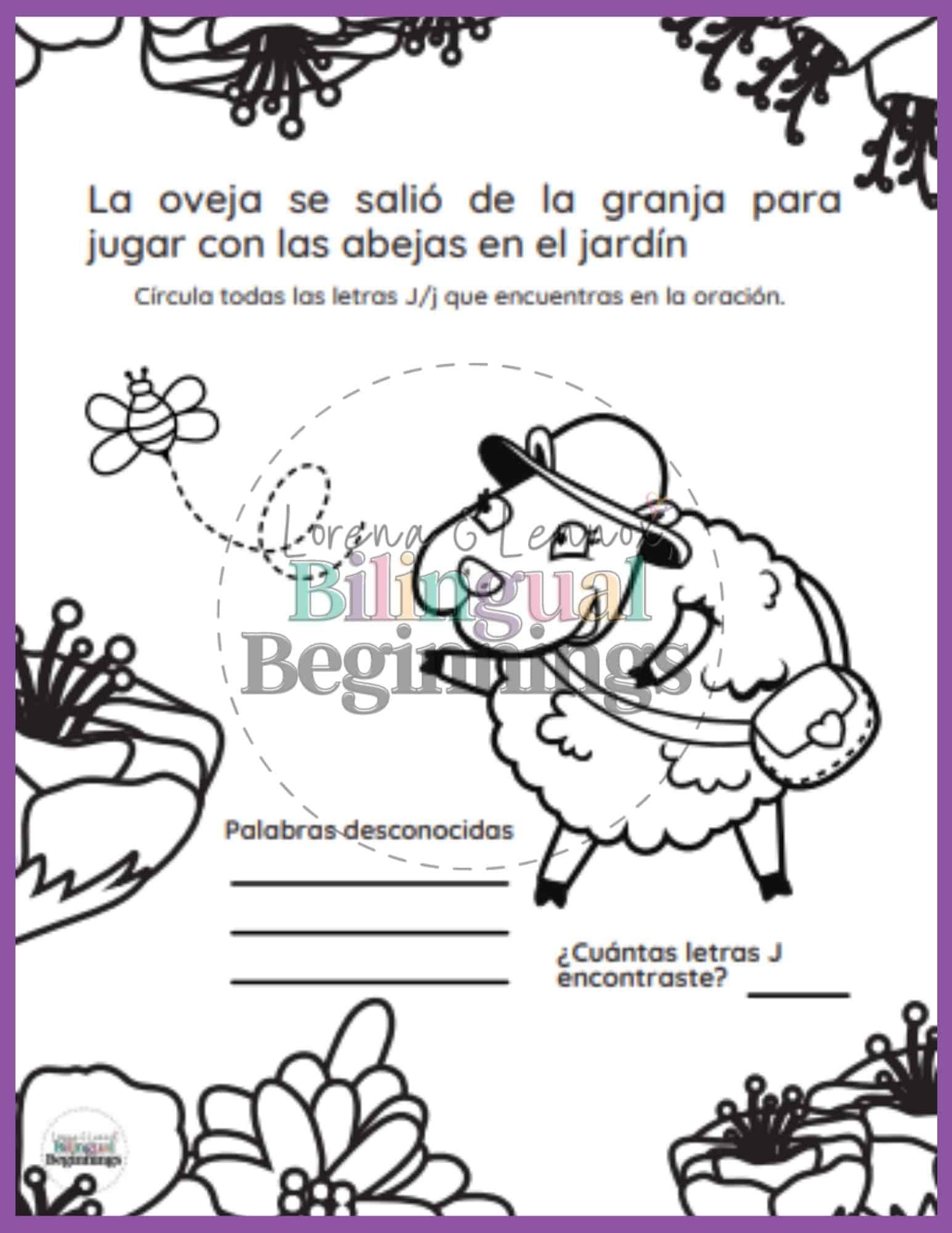 Letter J Printables in Spanish