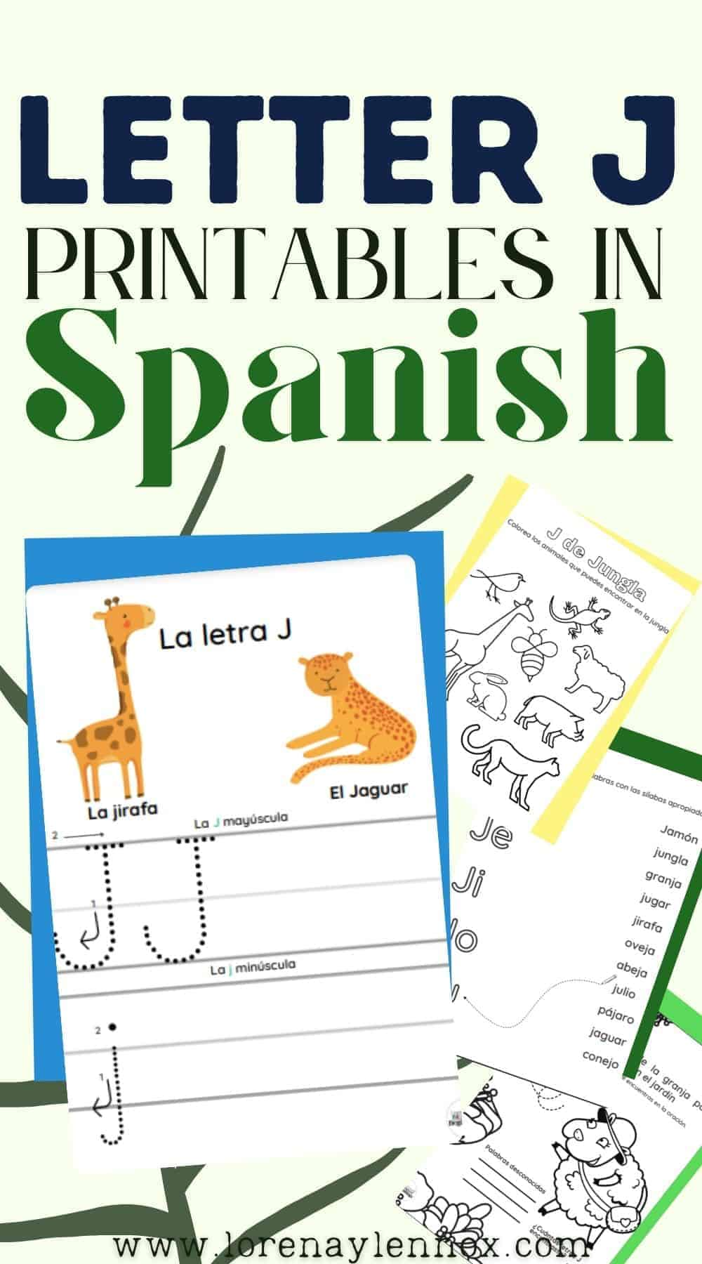 Four FREE letter J printables in Spanish for children ages 3-6. These activities are perfect for the classroom or for fun at home