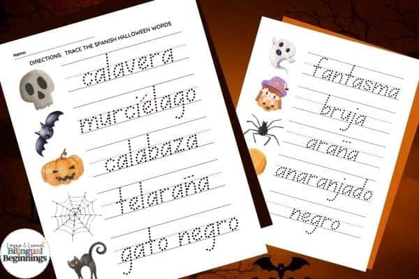 Two Halloween word tracing worksheets in Spanish for preschoolers and kindergarteners This is a great literacy activity for beginner writers.